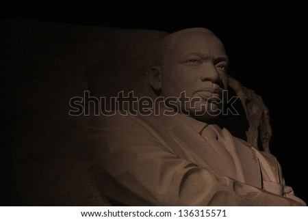 WASHINGTON DC - JAN 21: Nighttime closeup of the Martin Luther King Jr Memorial in Washington DC on Jan 21, 2012. - stock photo