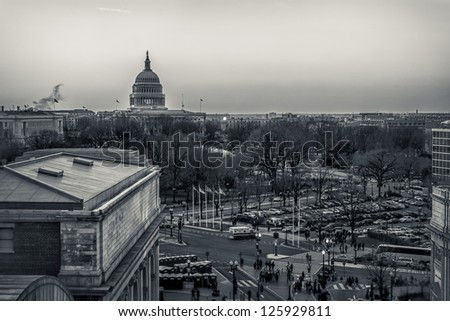 WASHINGTON DC - JANUARY 21:Capitol  seen on at day of Inauguration 44th President of US Barack Obama on January 21 2013 Capitol is meeting place of the US Congress Capitol Construction started in 1793 - stock photo