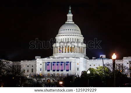 WASHINGTON DC - JANUARY 21:Capitol  seen on night of Inauguration 44th President of USA Barack Obama on January 21 2013 Capitol is meeting place of the US Congress Capitol Construction started in 1793