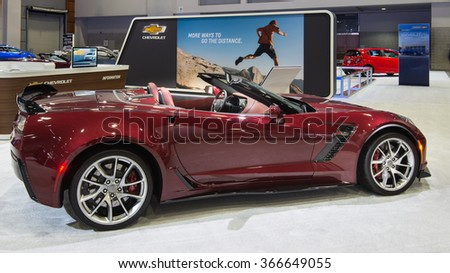 WASHINGTON, DC - JANUARY 21, 2016: Chevrolet Corvette Z06 car at the Washington, D.C. Auto Show (WAS), one of the largest auto shows in North America. - stock photo