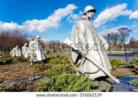 WASHINGTON DC - JANUARY 8: Korean War Memorial in Washington DC on January 8, 2009. The Korean War Memorial represents a war between South Korea and North Korea. - stock photo