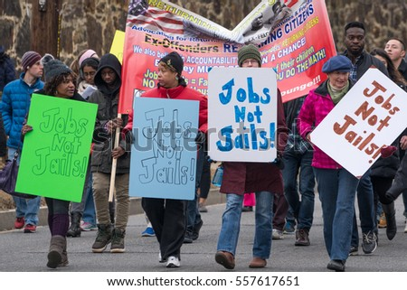 Washington, DC - January 16, 2017: Marchers advocate for jobs during the Martin Luther King, Jr. Day Peace Walk and Parade.
