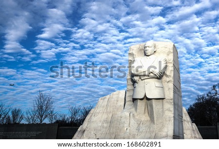 WASHINGTON, DC - JANUARY 28:  Martin Luther King Memorial, seen on January 28, 2012, is a massive sculpture and tourist attraction located on the National Mall along the Tidal Basin in Washington, DC. - stock photo