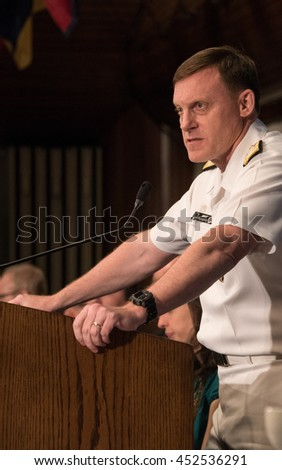 Washington, DC - July 14, 2016. Admiral Michael S. Rogers, Director of the US National Security Agency, (NSA) speaks on cybersecurity at a luncheon at the National Press Club
