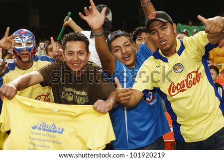 WASHINGTON, DC - JULY 29:  Club America (Mexico) fans cheer at a SuperLiga match against DC United on July 29, 2007.   Editorial use only. - stock photo
