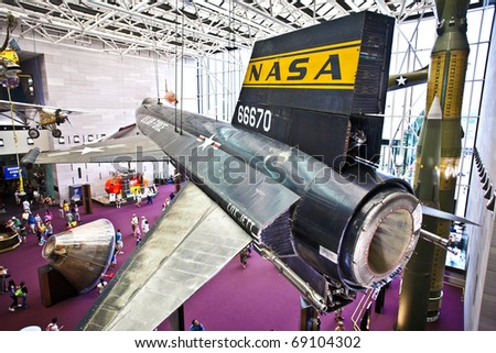WASHINGTON DC - JULY 14: National Air and Space museum in Washington holds the largest collection of historic aircraft and spacecraft in the world. Open for public at July 14,2010, Washington, USA. - stock photo