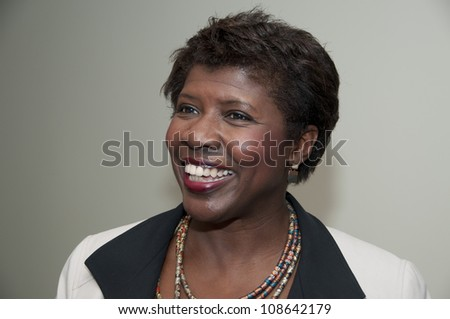WASHINGTON, DC - JULY 24:  PBS journalist and newscaster Gwen Ifill speaks to a luncheon at the National Press Club, July 24, 2012 in Washington, DC - stock photo