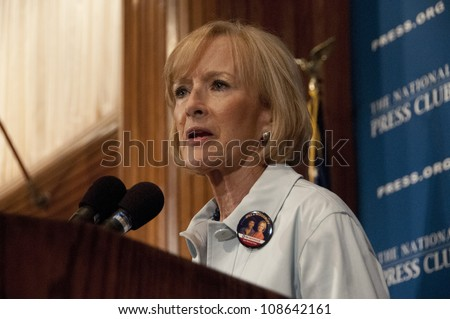 WASHINGTON, DC - JULY 24:  PBS journalist and newscaster Judy Woodruff speaks to a luncheon at the National Press Club, July 24, 2012 in Washington, DC - stock photo