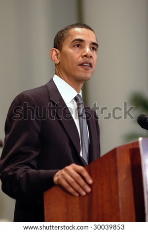 WASHINGTON, DC - JUNE 26, 2006: Barack Obama speaks at Sojourners and Call to Renewal's Pentecost 2006: Building a Covenant for a New America anti-poverty conference in Washington on June 26, 2006 - stock photo