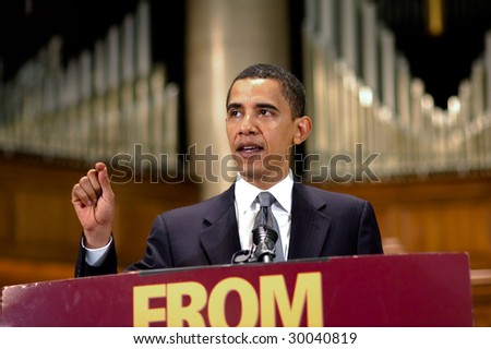 WASHINGTON, DC - JUNE 26, 2006: Barack Obama speaks at Sojourners and Call to Renewal's Pentecost 2006: Building a Covenant for a New America anti-poverty conference in Washington on June 26, 2006