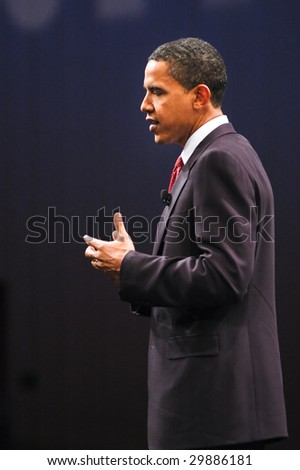 WASHINGTON, DC - JUNE 4, 2007: Barack Obama speaks during the Sojourners and CNN presidential candidates forum on faith, values, and poverty. - stock photo