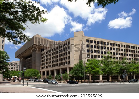 WASHINGTON, DC - JUNE 1: J. Edgar Hoover F.B.I. Building in downtown Washington, DC on June 1, 2014. - stock photo
