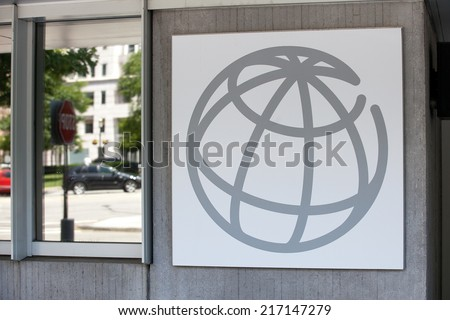 WASHINGTON, DC - JUNE 1: Sign outside the World Bank Group in downtown Washington, DC on June 1, 2014. - stock photo