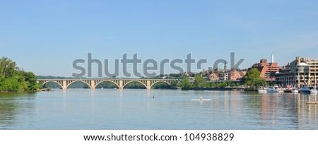 Washington DC - Key Bridge and Georgetown with Potomac River panoramic view - stock photo