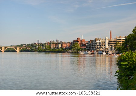 Washington DC - Key Bridge and Georgetown with Potomac River panoramic view - stock photo