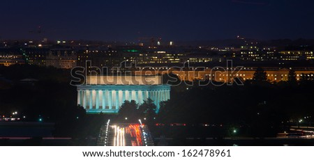 Washington DC - Lincoln Memorial and Arlington Memorial Bridge at night  - stock photo