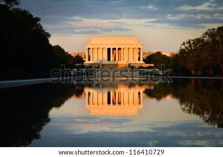 Washington DC, Lincoln Memorial and mirror reflection on the pool at evening - stock photo