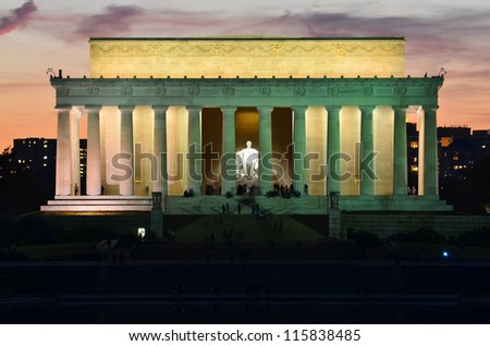 Washington DC, Lincoln Memorial at night - stock photo