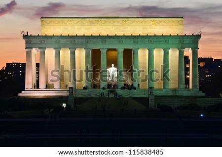 Washington DC, Lincoln Memorial at night - stock photo