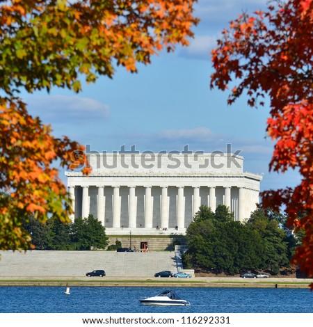 Washington DC, Lincoln Memorial in Autumn - stock photo