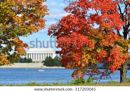 Washington DC - Lincoln Memorial in Autumn with fall foliage foreground - stock photo