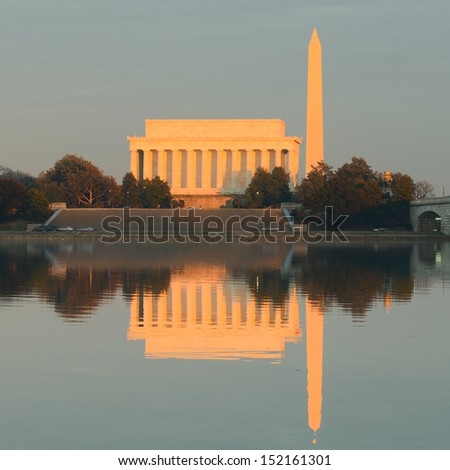 Washington DC - Lincoln Memorial, Washington Monument and reflections over Potomac River  - stock photo
