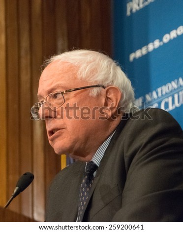 WASHINGTON, DC - MARCH 9, 2015:- U.S. Senator Bernie Sanders (Independent -Vermont) speaks at a luncheon at the National Press Club - stock photo