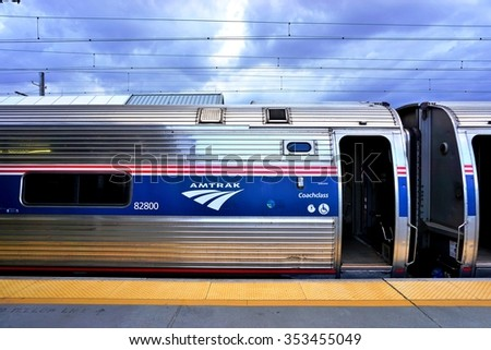 WASHINGTON DC -25 MAY 2015- A Northeast Regional train from Amtrak at Union Station connecting Washington to New York on the Northeast Corridor. - stock photo