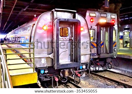 WASHINGTON DC -25 MAY 2015- A Northeast Regional train from Amtrak at Union Station connecting Washington to New York on the Northeast Corridor.