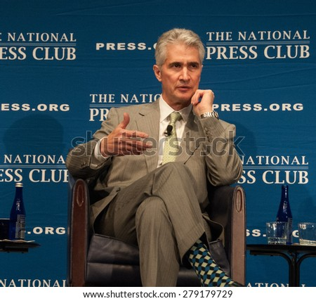 Washington, DC - May 15, 2015: Jeff Smisek, chairman, president, and CEO of United Airlines speaks at the National Press Club - stock photo