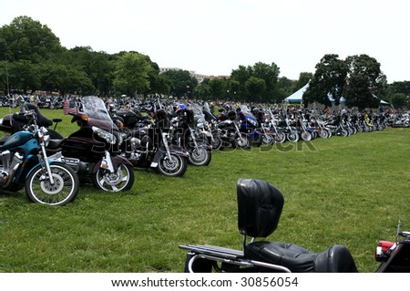 "WASHINGTON, DC - MAY 24 : Riders park their bike before the rally at the annual Rolling Thunder rally ""Ride For Freedom"" around the Mall May 24, 2009 in Washington, DC."