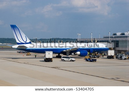 WASHINGTON, DC - MAY 16: United Airlines Flight 27 made an emergency landing in Washington on Sunday night due to a cockpit fire. A United aircraft on May 16, 2010 in Washington DC. - stock photo