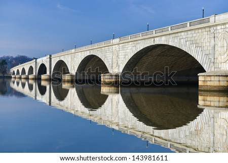 Washington DC - Memorial Bridge and mirror reflection on Potomac River  - stock photo