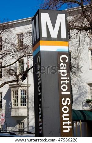 Washington DC metro station sign - stock photo