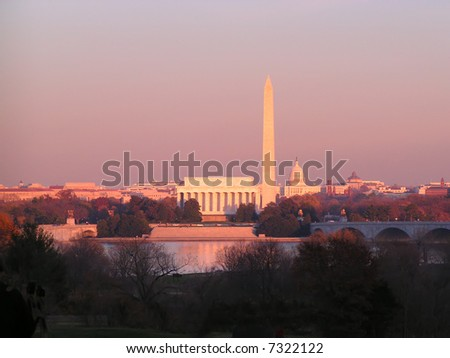Washington DC Monuments at Sunset Horizontal with Copy Space