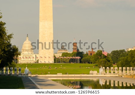 Washington DC, National Mall  including World War II Memorial, the Monument and Capitol Building - stock photo