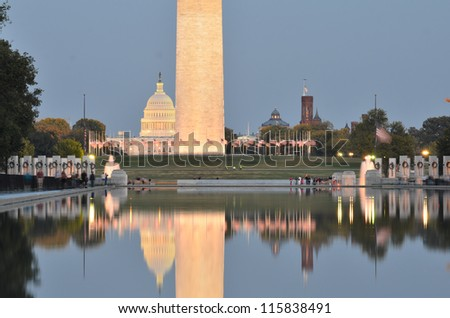 Washington DC, National Mall night scene including World War II Memorial, the Monument and Capitol Building - stock photo