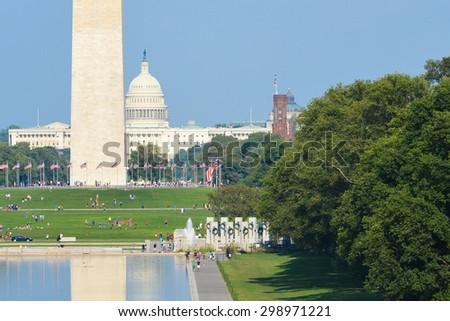 Washington DC - National Mall with Monuments - stock photo