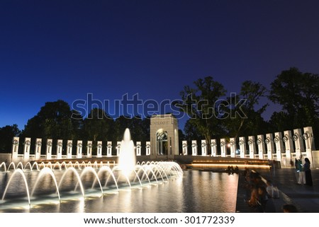 Washington DC - National WWII Memorial at night - stock photo