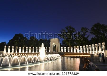 Washington DC - National WWII Memorial at night - stock photo