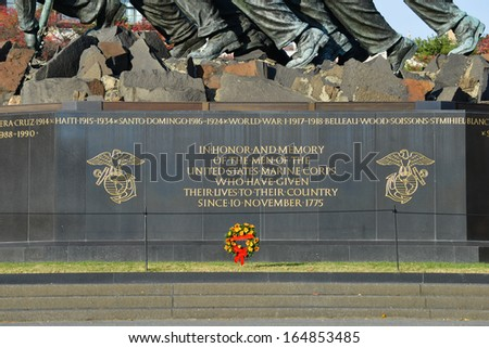 WASHINGTON, DC - NOV 12: Iwo Jima Memorial in Washington, DC on November 12, 2013. The Memorial honors the Marines who have died defending the US since 1775.and a prominent tourist attraction point  - stock photo