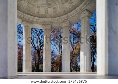 WASHINGTON DC - NOV 29: The District of Columbia War Memorial on Nov 29, 2013 in Washington DC, USA. It commemorates the citizens of the District of Columbia who served in World War I. - stock photo