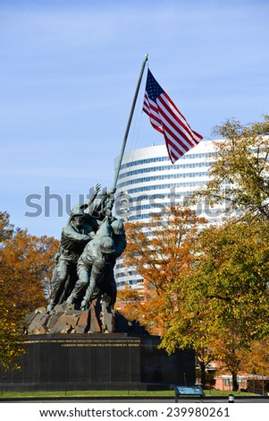 WASHINGTON, DC - NOVEMBER 16, 2014: Iwo Jima Memorial in Washington, DC. The Memorial honors the Marines who have died defending the US since 1775 and a prominent tourist attraction in Washington DC.  - stock photo