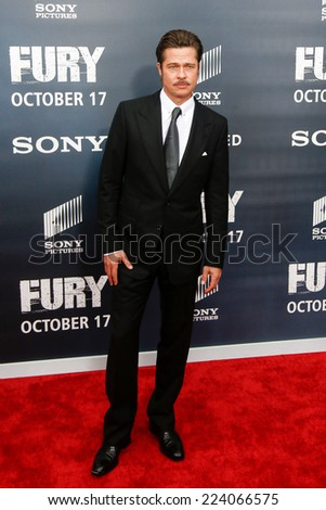 "WASHINGTON, DC-OCT 15: Actor Brad Pitt attends the world premiere of ""Fury"" at the Newseum on October 15, 2014 in Washington, DC. - stock photo"