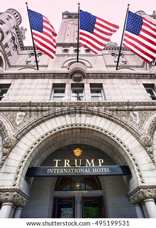Washington, DC. Oct. 6, 2016 : Donald Trump International Hotel built in the old Pennsylvania, Ave Post Office.