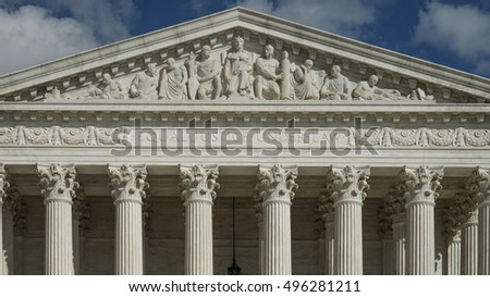 WASHINGTON, DC - OCT 3, 2016:   Equal Justice Under Law engraving above entrance to US Supreme Court Building.  Court did not have its own building until 1935, when it moved into this new building.