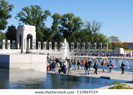 WASHINGTON, DC - OCTOBER 18: Alzheimer's Walk Event on October 18, 2008 in Washington, DC USA. People at the World War II Memorial in Washington DC for the Alzheimer's fund raising event. - stock photo
