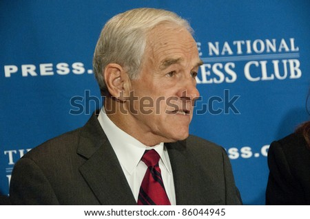 WASHINGTON, DC - OCTOBER 5:  Congressman Ron Paul (R-Texas), candidate for the Republican Presidential nomination, speaks to a luncheon at the National Press Club, October 5, 2011 in Washington, DC