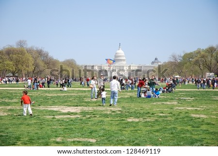 WASHINGTON, DC - OCTOBER 04: Kite Festival Event on October 04, 2008 in Washington, DC USA. People gathering at Washington DC Mall Area for the Kite Festival Event. - stock photo