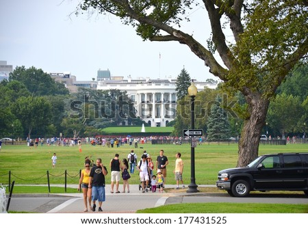 WASHINGTON, DC - OCTOBER 02: The White House on October 02, 2008 in Washington DC,USA. The White House is a famous attraction in Washington DC, and people from all over the world come to visit. - stock photo